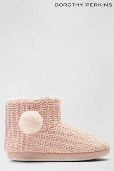 Dorothy Perkins Blush Chenile Pom Fur Slipper Boot