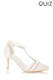 Quiz White Shoes Bridal Satin Twist Court
