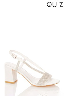 Quiz White Shoes Bridal Satin V Strap Diamante