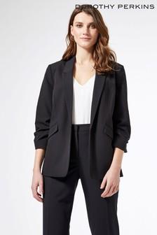 Dorothy Perkins Black Ruched Sleeve Jacket