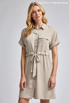 Dorothy Perkins Nude Utility Drawcord Shirt Dress