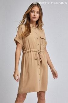 Dorothy Perkins Camel Petite Tie Waist Shirt Dress