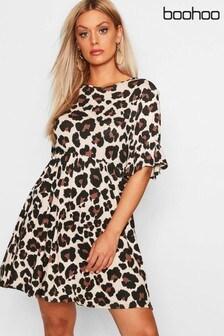 Boohoo Curve Multi Leopard Smock Dress