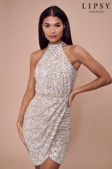 Lipsy Silver Sequin Halter Dress