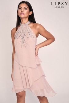 Lipsy Nude Hand Embellished Halter Tiered Swing Dress