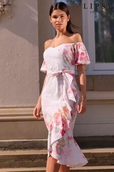 Lipsy Ivory Bardot Midi Dress