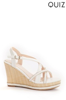 Quiz White Cross Strap Diamanté Wedges