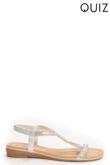 Quiz Silver Embellished Loop Sandals