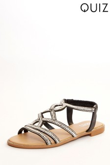 Quiz Black Diamante Twist Strap Flat Sandal