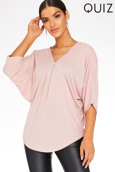 Quiz Pink Light Knit Diamanté Zip Front And Back Top