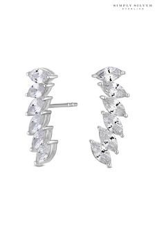 Simply Silver Sterling Silver 925 Cubic Zirconia Marquise Ear Climber