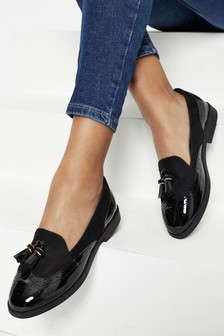 Lipsy Black Brogue Tassle Loafer