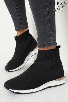 Lipsy Black Knit Sock Trainer (Older)