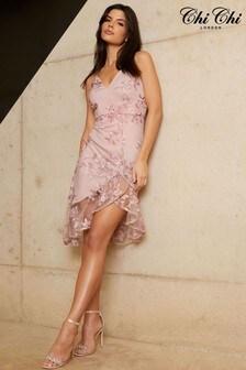 Chi Chi London Embroidered Asymmetric Hem Midi Dress