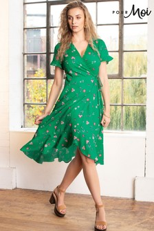 Pour Moi Green Frill Detail Woven Wrap Dress