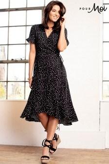 Pour Moi Black Frill Detail Woven Wrap Dress