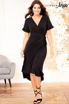 Pour Moi Black Slinky Jersey Frill Detail Midi Wrap Dress