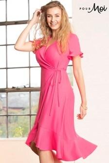 Pour Moi Pink Frill Detail Woven Wrap Dress
