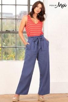 Pour Moi Navy Linen Blend Wide Leg Trouser