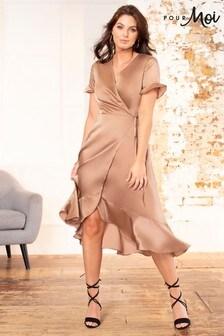 Pour Moi Nude Satin Midi Wrap Dress