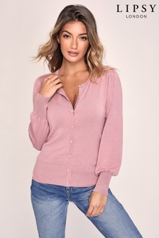 Lipsy Pink Knitted Blouson Sleeve Diamante Button Cardigan