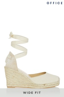 Office Wide Fit White Tie Up Espadrille Wedge