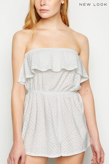 New Look Broderie Frill Bardot Playsuit