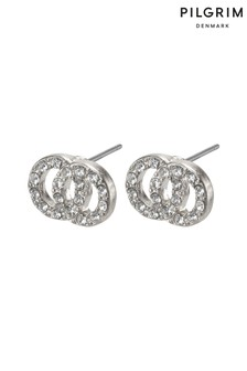 PILGRIM Silver Elaine Plated Crystal Earrings