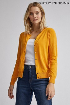 Dorothy Perkins Orange Button Through Long Sleeve Cardigan