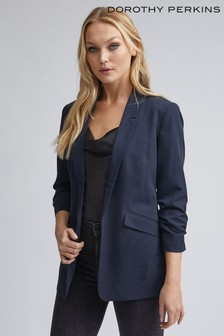 Dorothy Perkins Navy Tall Ruched Sleeve Jacket