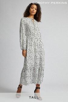 Dorothy Perkins White Tall Spot Print Smock Dress