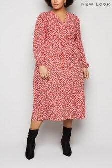 New Look Curve Monica Frill Midi Dress