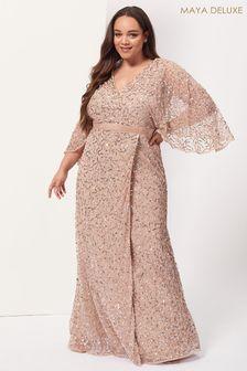Maya Plus Wrap Neck Kimono Sleeve Maxi Dress