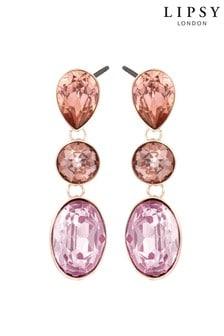 Lipsy Jewellery Rose Gold Plated Multi Stone Drop Earrings