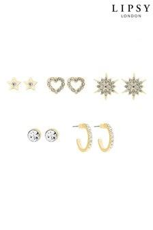 Lipsy Gold Plated Celestial 5 Pack Earrings