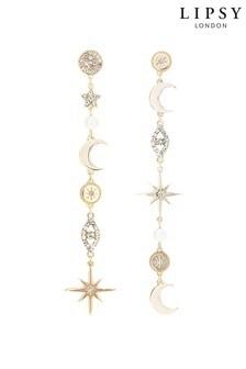 Lipsy Jewellery Gold Plated Celestial Miss Match Drop Earrings