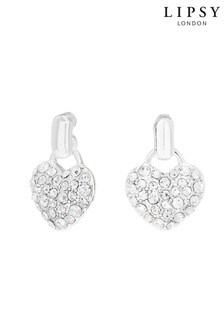 Lipsy Silver Plated Crystal Heart Doorknocker Stud Earrings