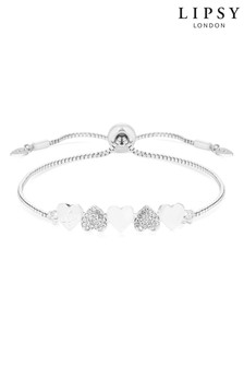 Lipsy Jewellery Silver Plated Polished And Pave Heart Toggle Bracelet