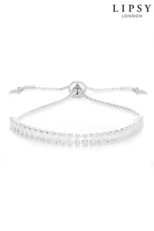 Lipsy Jewellery Silver Plated Crystal Baguette Toggle Bracelet