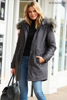 Sosandar Grey Luxe Faux Fur Hooded Parka
