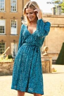 Sosandar Teal Sequin Blouson Sleeve Belted Wrap Dress