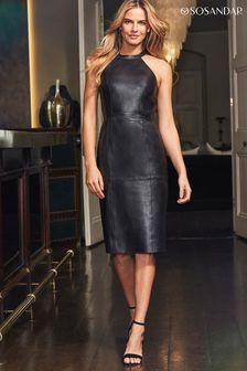 Sosandar Black Halterneck Leather Dress