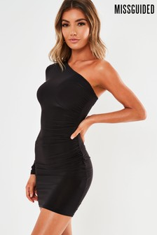Missguided Slinky One Sleeve Ruched Mini Dress