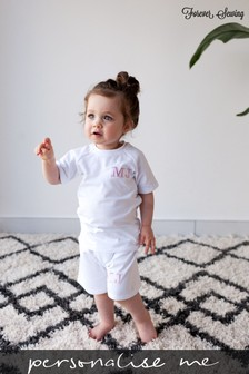 Personalised White Shorts & T-Shirt Set by Forever Sewing