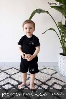 Personalised Black Shorts & T-Shirt Set by Forever Sewing