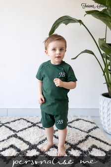 Personalised Green Shorts & T-Shirt Set by Forever Sewing