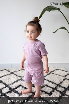 Personalised Lilac Shorts & T-Shirt Set by Forever Sewing