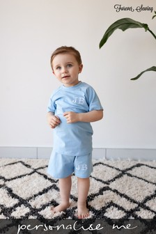 Personalised Blue Shorts & T-Shirt Set by Forever Sewing