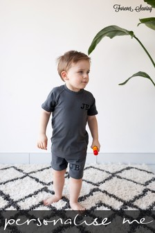 Personalised Grey Shorts & T-Shirt Set by Forever Sewing