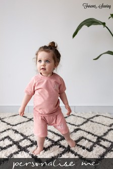 Personalised Peach Shorts & T-Shirt Set by Forever Sewing